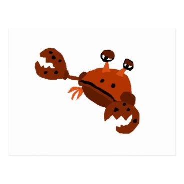 Beach Themed Funny Crab Beach Art Postcard