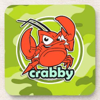 Funny Crab; bright green camo, camouflage Coasters