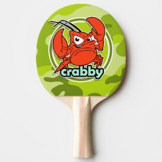 Funny Crab; bright green camo, camouflage Ping-Pong Paddle