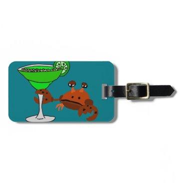Beach Themed Funny Crab Drinking Margarita Design Bag Tag