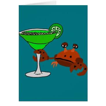 Beach Themed Funny Crab Drinking Margarita Design Card