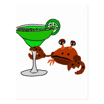 Beach Themed Funny Crab Drinking Margarita Design Postcard