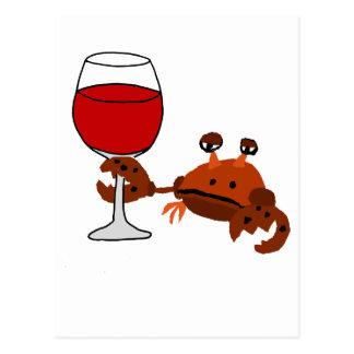 Funny Crab Drinking Wine Artwork Postcard
