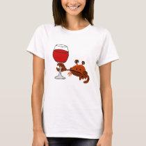 Funny Crab Drinking Wine Artwork T-Shirt