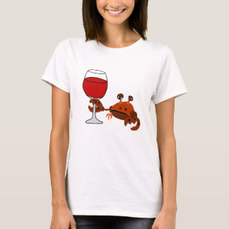 Funny Crab Drinking Wine Artwork T-Shirt