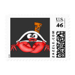 Funny Crab Pirate Stamp