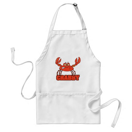 funny crabby red crab with an attitude aprons