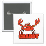 funny crabby red crab with an attitude pinback buttons