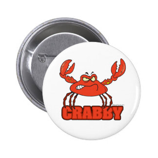 funny crabby red crab with an attitude button