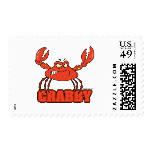 funny crabby red crab with an attitude stamps