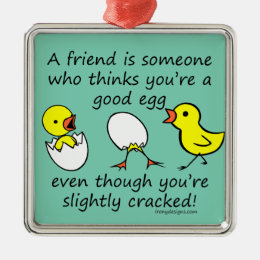 Funny Cracked Best Friend Metal Ornament