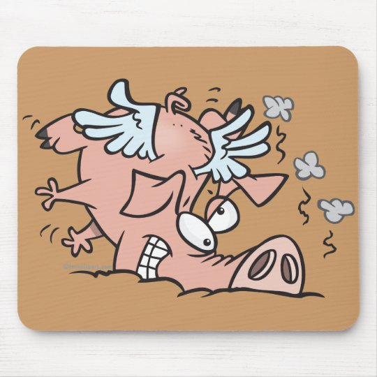 funny crash landing flying pig cartoon mouse pad