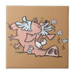funny crash landing flying pig cartoon tile