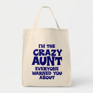 Funny Crazy Aunt Canvas Bags