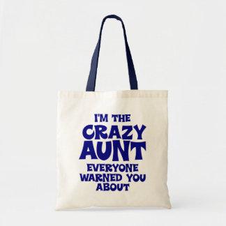 Funny Crazy Aunt Budget Tote Bag