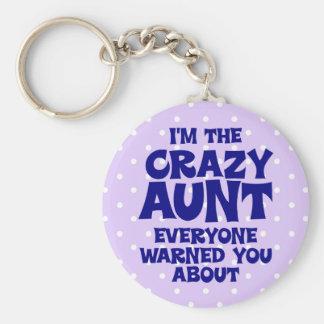 Funny Crazy Aunt Basic Round Button Keychain