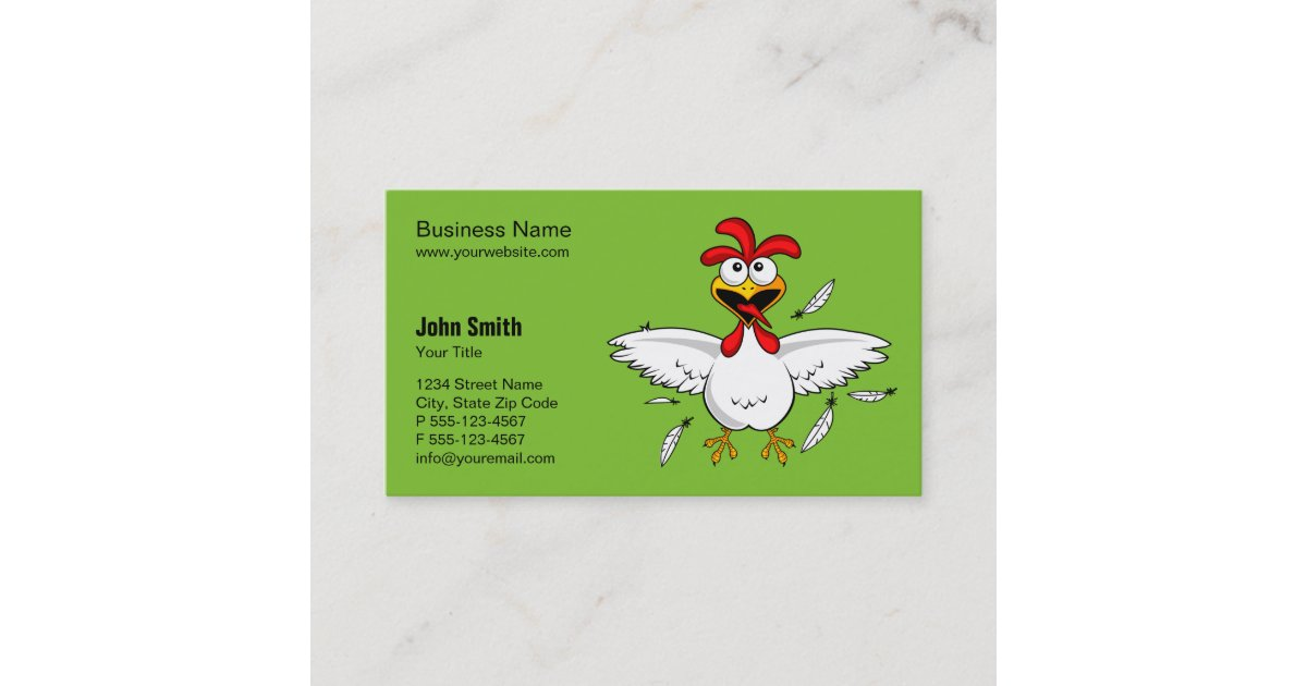 Funny Crazy Cartoon Chicken Green Background Business Card | Zazzle.com