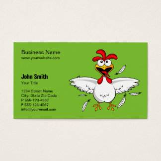 Funny Crazy Cartoon Chicken Green Background Business Card