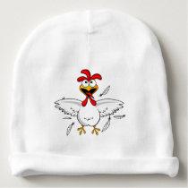Funny Crazy Cartoon Chicken Wing Fling Baby Beanie