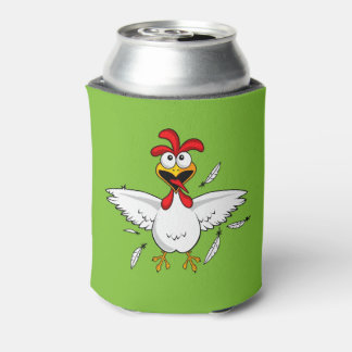 Funny Crazy Cartoon Chicken Wing Fling Can Cooler