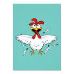 Funny Crazy Cartoon Chicken Wing Fling Card
