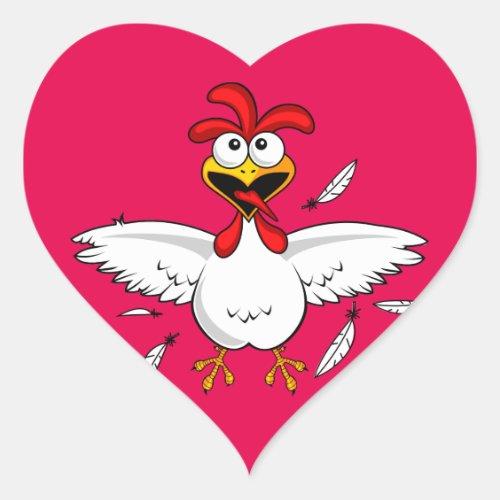 Funny Crazy Cartoon Chicken Wing Fling Heart Sticker