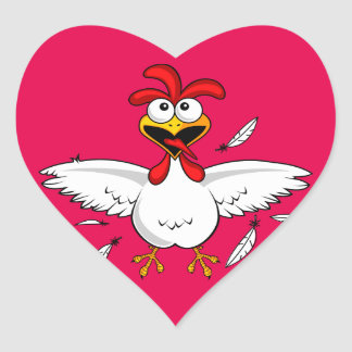 Funny Crazy Cartoon Chicken Wing Fling Heart Sticker