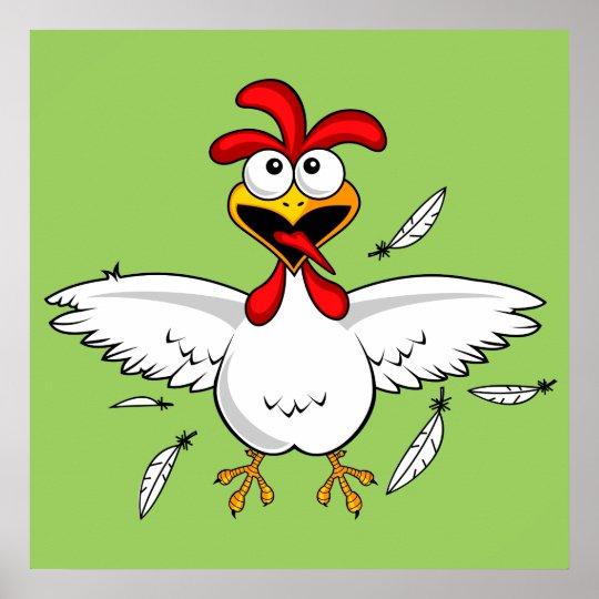 Funny Crazy Cartoon Chicken Wing Fling Poster Zazzle Com