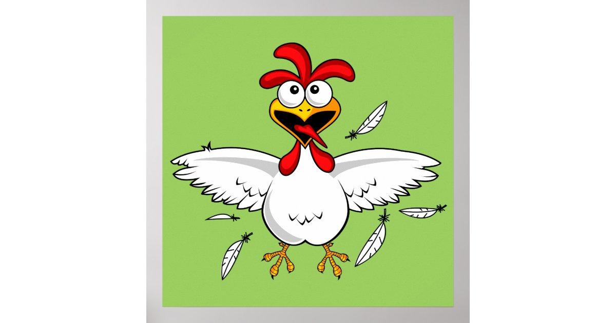 Funny Chicken Cartoons: Funny Crazy Cartoon Chicken Wing Fling Poster