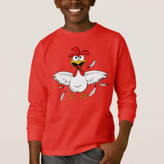 Funny Crazy Cartoon Chicken Wing Fling T-Shirt