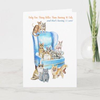 Funny Crazy Cat Lady Birthday Card - Look Inside!