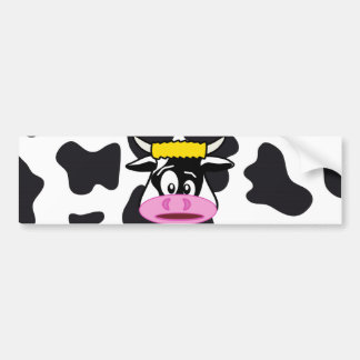 Funny Crazy Cow Bull on Dairy Cow Print Pattern Car Bumper Sticker