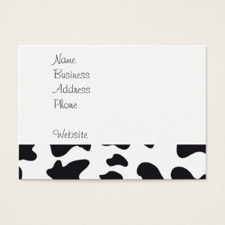 Funny Crazy Cow Bull on Dairy Cow Print Pattern Business Card
