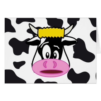 Funny Crazy Cow Bull on Dairy Cow Print Pattern Card
