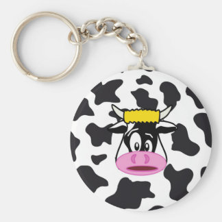 Funny Crazy Cow Bull on Dairy Cow Print Pattern Key Chains