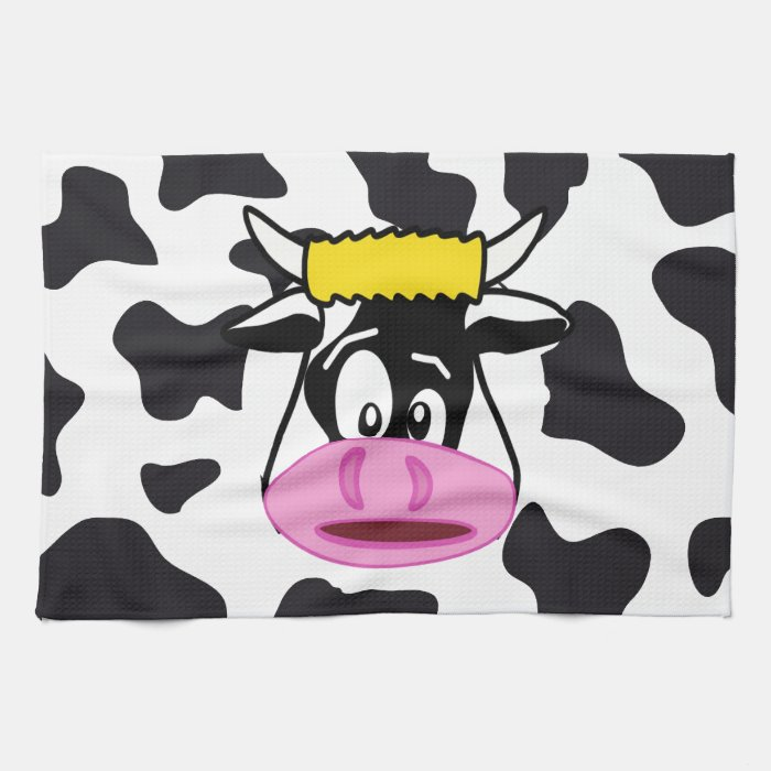 Funny Crazy Cow Bull on Dairy Cow Print Pattern Kitchen Towels