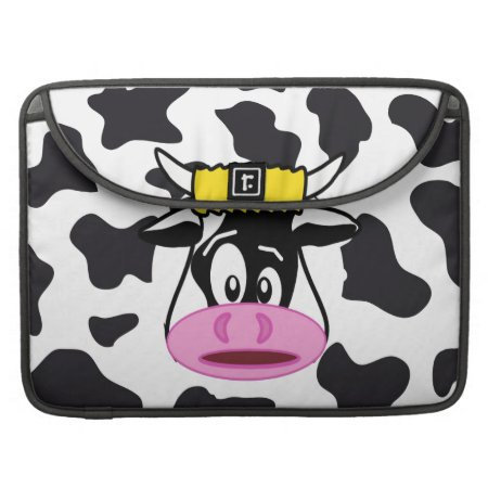 Funny Crazy Cow Bull On Dairy Cow Print Pattern Macbook Pro Sleeve