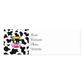 Funny Crazy Cow Bull on Dairy Cow Print Pattern Mini Business Card