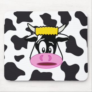 Funny Crazy Cow Bull on Dairy Cow Print Pattern Mouse Pad