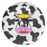 Funny Crazy Cow Bull on Dairy Cow Print Pattern Party Plate