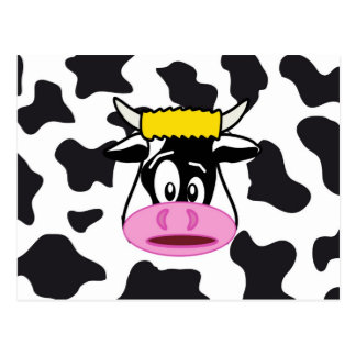Funny Crazy Cow Bull on Dairy Cow Print Pattern Postcard