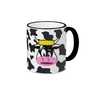 Funny Crazy Cow Bull on Dairy Cow Print Pattern Ringer Mug