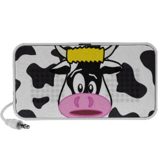 Funny Crazy Cow Bull on Dairy Cow Print Pattern iPod Speakers
