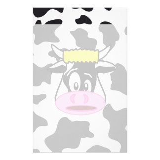 Funny Crazy Cow Bull on Dairy Cow Print Pattern Stationery