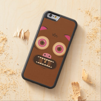 Funny crazy monster carved maple iPhone 6 bumper case