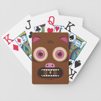 Funny crazy monster bicycle playing cards