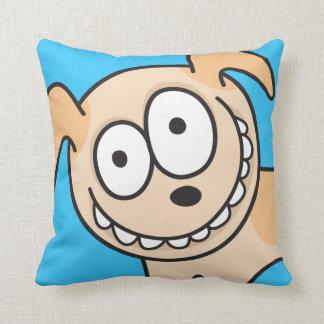 Funny crazy puppy dog animal cartoon blue pillow