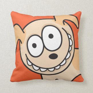 Funny crazy puppy dog animal cartoon orange pillow
