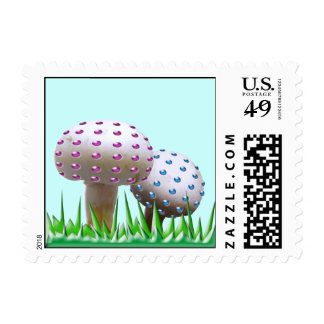 Funny crazy strange mushrooms postage