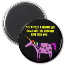 Funny Crazy Unicorn Cartoon Magnet